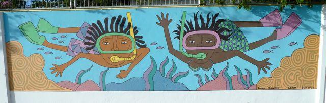 Vrolijke muurtekening in de sfeer van dit eiland