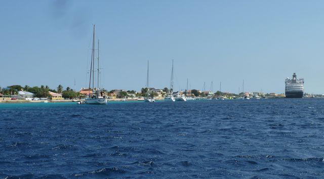 Bij Bonaire is ankeren verboden, ivm bescherming van het rif. Er liggen dus 43 moorings om aan vast te leggen.
