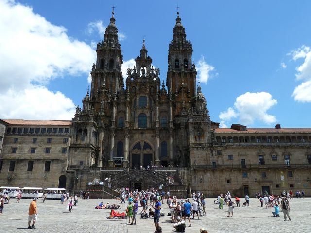 De kathedraal van Santiago de Compostella. Op het plein ervoor verzamelden alle moegelopen bedevaartsgangers, wat een bijzondere sfeer!