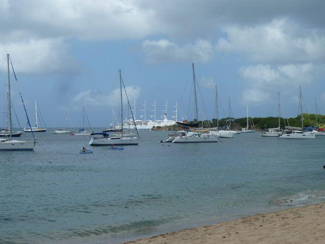 Een prachtige baai voor een wit zandstrand omzoomd met palmbomen