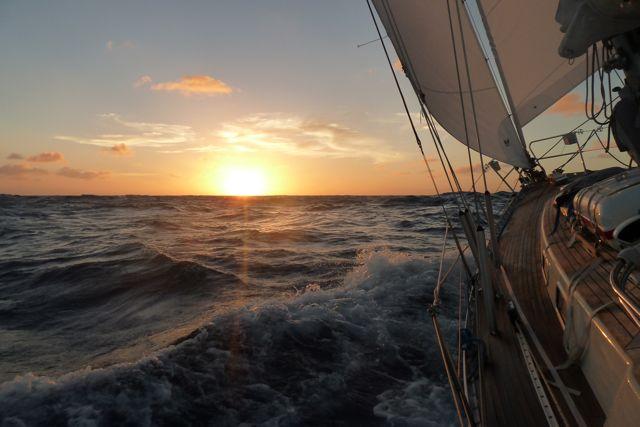 Met stevige snelheid door het water de nacht tegemoet