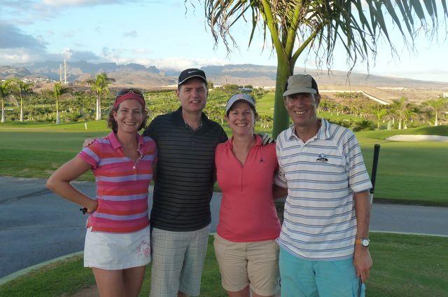 De eerste dag samen golfen, Karin en Edwin hebben een prachtige baan uitgezocht.