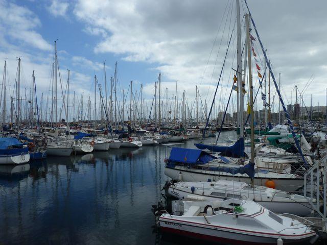 Pieter en ik gaan n dagje naar las Palmas waar we een foto maken van de ARC-vloot die zich klaarmaakt voor vertrek, een gezellige bende