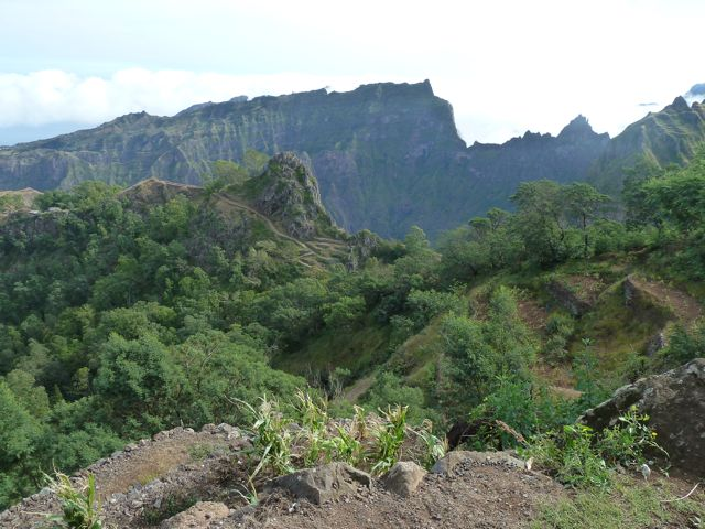 de groene bergen in van Sao Antao
