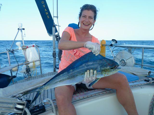 Wat ben ik trots op onze vangst van deze mahimahi