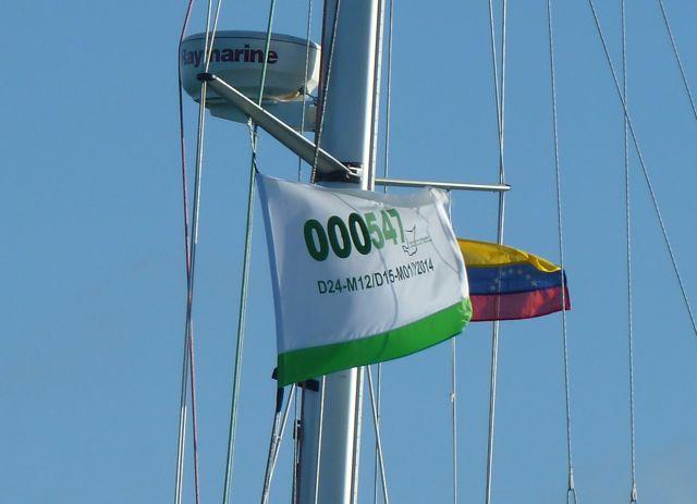 de vlag die bewijst dat we officieel ingeklaard zijn.