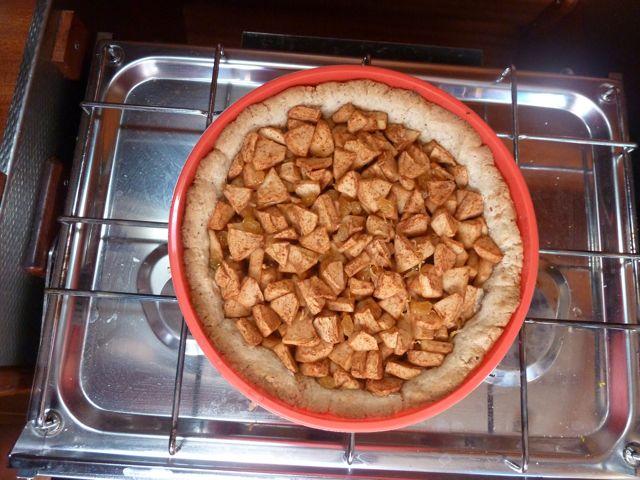 Wat ruikt dat heerlijk, een zelfgebakken appeltaart. Lang leve www.AH.nl voor het recept.