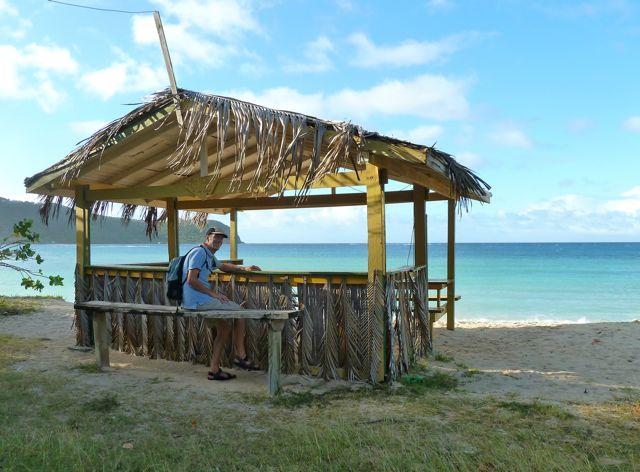 Caribisch gevoel op zo'n plekje, jammer dat de bar gesloten was, anders had Pieter zeker een rumpunch in zijn hand gehad!