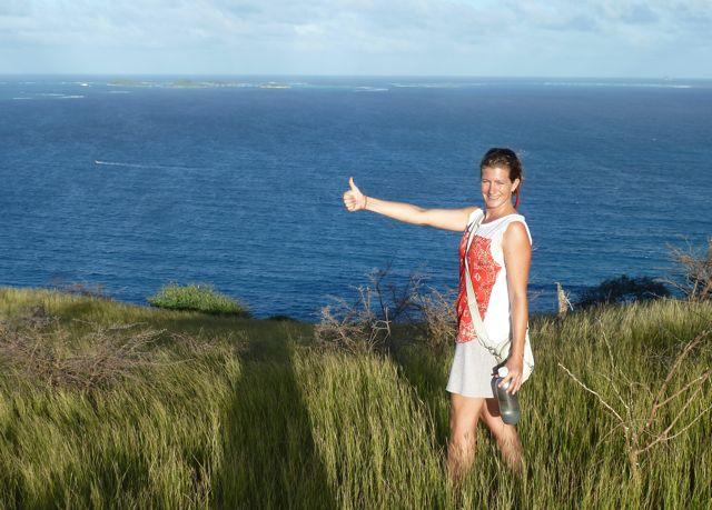 Het paradijs van the Tobago Cays op de achtergrond, LIKE!