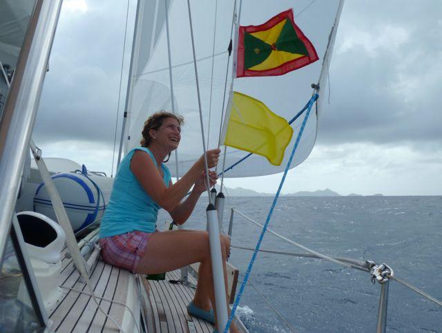 En daar gaan we, op weg naar Carriacou, wat bij het land Grenada hoort.